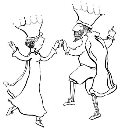 König und Königin tanzen, Arabisch Malbuch z wie zacken