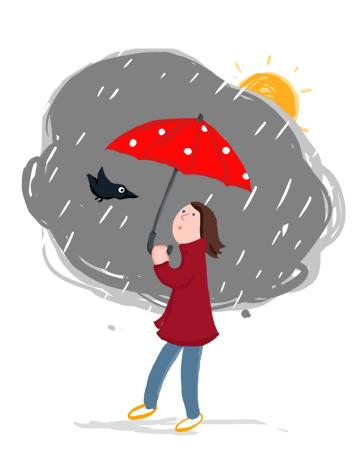 Regen, Rabe, Regenschirm, Wetter