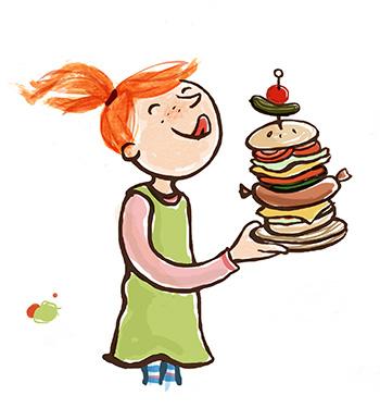 großer Burger, Mädchen, rote Haare, Wurst