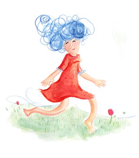 Mädchen, wiese, rot, blaue Haare, Locken