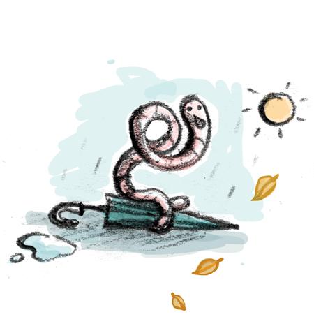 Regenwurm, Regen, Sonne, Wetter, Schirm, Blätter