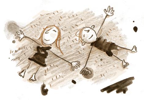 Mädchen, Junge, Wiese, träumen, entspannt, gekritzel, Strichmännchen