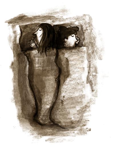Paar im Bett, schlafen, kuscheln, Kissen, Decken, Rücken an Rücken