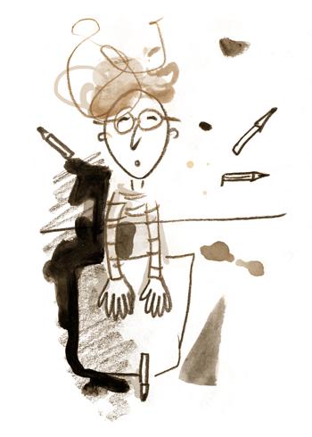 verwirrung, zeichnen, leeres Blatt, keine Idee, zu viel im Kopf, krauses Haar