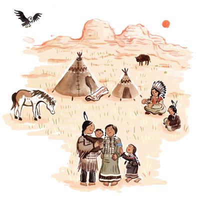 Indianer, Familie, Adler, Amerika, Berge, Pferd, Tipi
