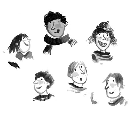 Junge, Mädchen, grau, schwarz, weiß, black and withe, Boy, girl, head, Köpfe