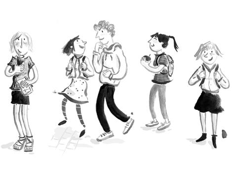 Teen, Teenager, Boy, Girl, Schoolyard, Schulhof, Mädchen, Jungen, Gruppe,