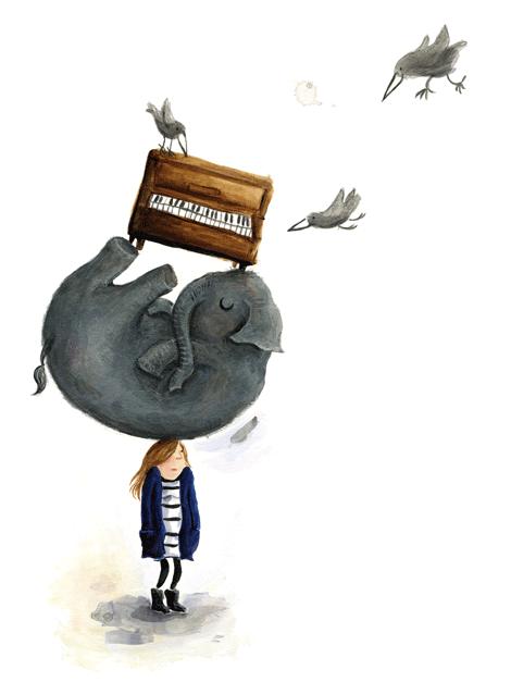 Elefant, Schlafen, Kopf, Klavier, Raben, Träumen, schwer