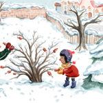 Busch, Weihnachten, Kinder, schmücken, Ina Worms, Baum schmücken, Christbaum, Würstchen, Geschichte, Illustration