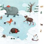 Spuren im Schnee, Schlittschulaufen, Tiere, Wimmelbild, Elefant, Illustration, Illustratorin, Kinderbuch, Köln