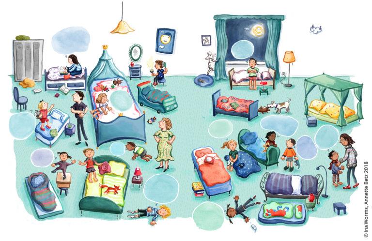 Schlafen, Einschlafen, Kind will nicht schlafen, Illustration, Ina Worms, Kinderbuch, Wimmelbild