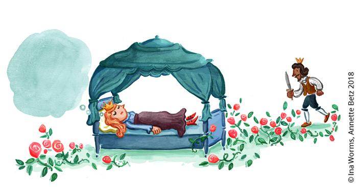 Dornrösschen, Einschlafen für Anfänger, Märchen, schlummernde Prinzessin, Kristina Dumas, Ina Worms, Illustration