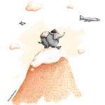 Fernweh, Unterwegs, Reisen, Hiking, Elefant, Elefant mit Rucksack, Berg, Bergsteigen, Ina Worms, Illustration