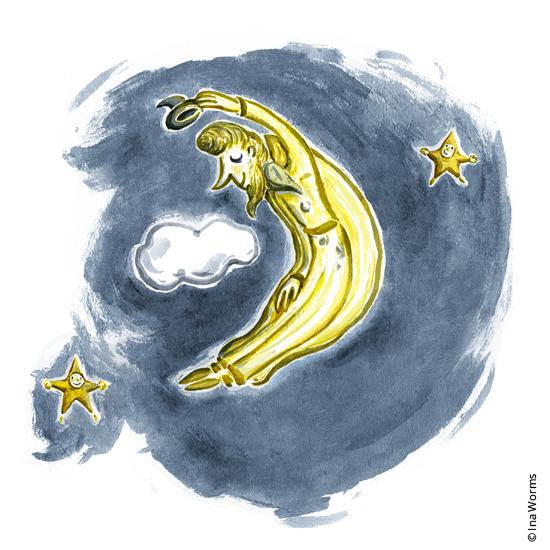 Mond, viele Grüße, in der Nacht, Nachts, Mondmann, Illustration, Ina Worms Illustration, Ina Worms, Sternenhimmel,Sternenkind