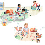 Kita Alltag, Alltag, Kindertagesstätte, BMFSFJ, Lina und Nuri, neue Freunde, Illustration Kinder, Ina Worms