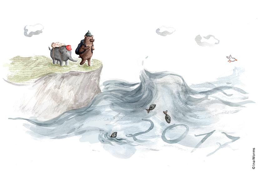 Küste, Klippen, Meer, 2017, Wandern, Ausflug, Reisen, traveling, Elefant, Bär, Kinderbuch, Illustration, Ina Worms,
