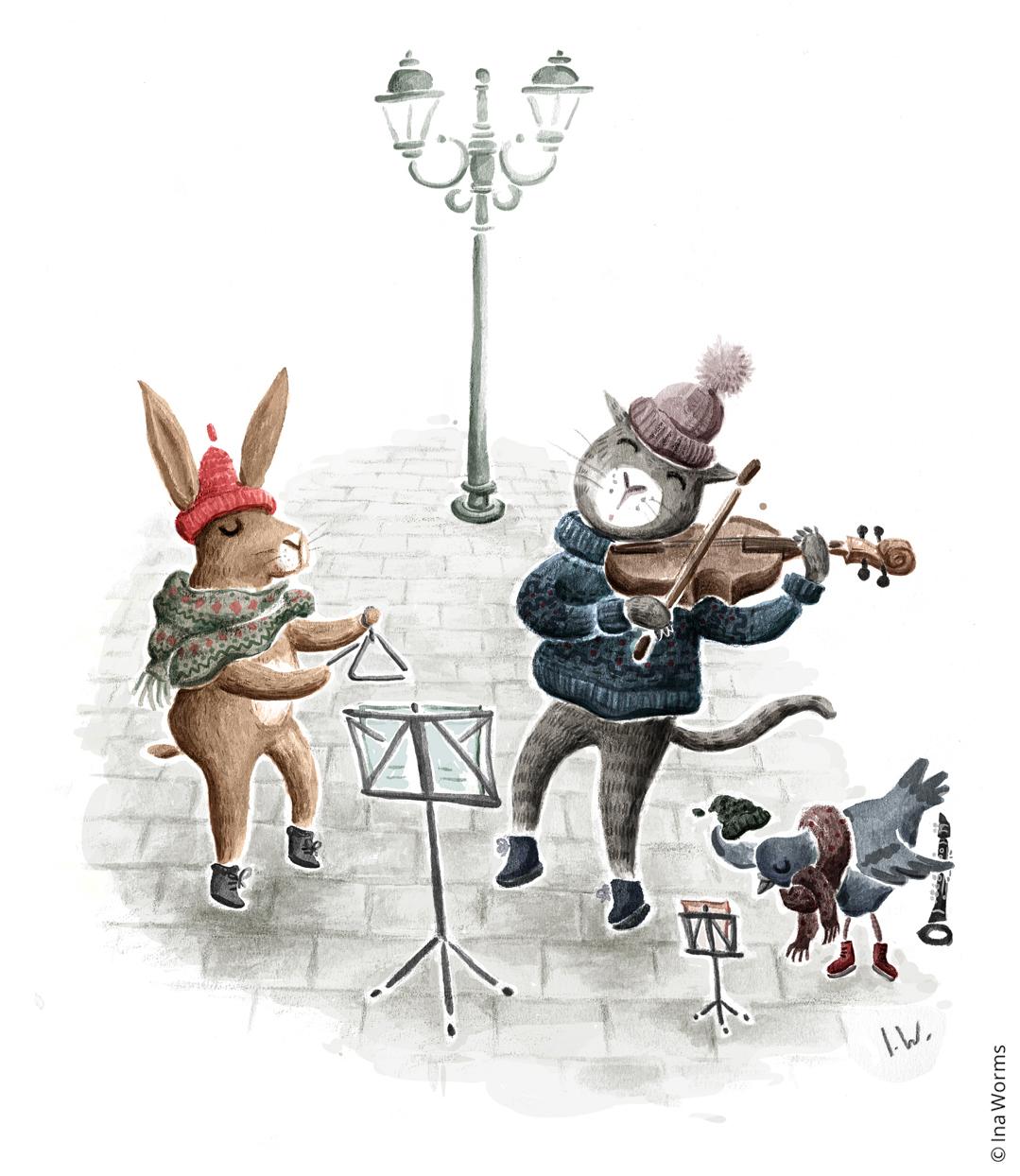 Straßenmusik, Katze mit Geige, Hase, Taube, Tiere, niedlich, Illustration, Ina Worms, Design