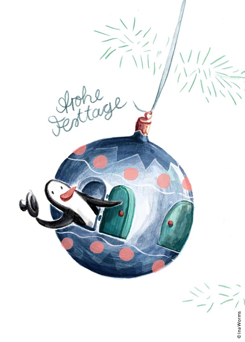 Pinguin, Christbaumkugel, Weihnachten, Weihnachtskarte, x-mas, Baumschmuck, Illustration, Kinderbild, Tier, gemalt, Ina Worms Illustration